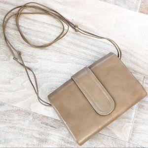 Handbags - Beige Leather Shoulder & Clutch Purse Bag